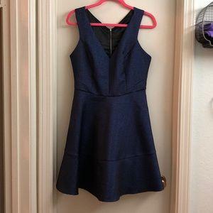 Metallic navy a-line express dress